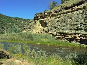 A view of the Pecos River along private waters